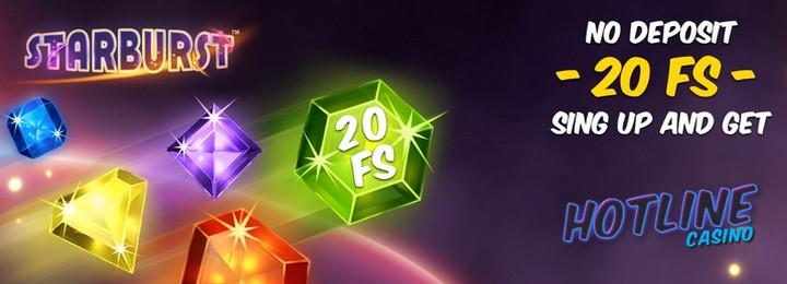 Бездепозитный бонус за регистрацию 20 фриспинов в казино HotLine